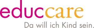 Logo der educcare bildungskindertagesstätten mit Claim