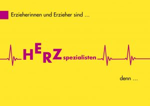"""Postkarte """"Erzieherinnen und Erzieher sind Herzspezialisten"""" aus der educcare Wertschätzungskampagne"""