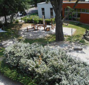 Blick von oben auf den Gartender Kita LuKids in Ludwigshafen