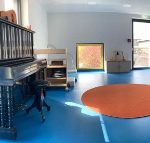 Musikraum und Krippe der Kita Zündfunken in Schwieberdingen