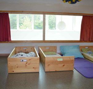 Kita TU Darmstadt Kinderhaus Lichtwiese Schlafraum educcare